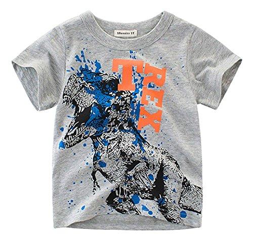 2Bunnies Little Boys Toddler Dinosaur T Rex Short Sleeve Tee T Shirt (6, Gray 2)