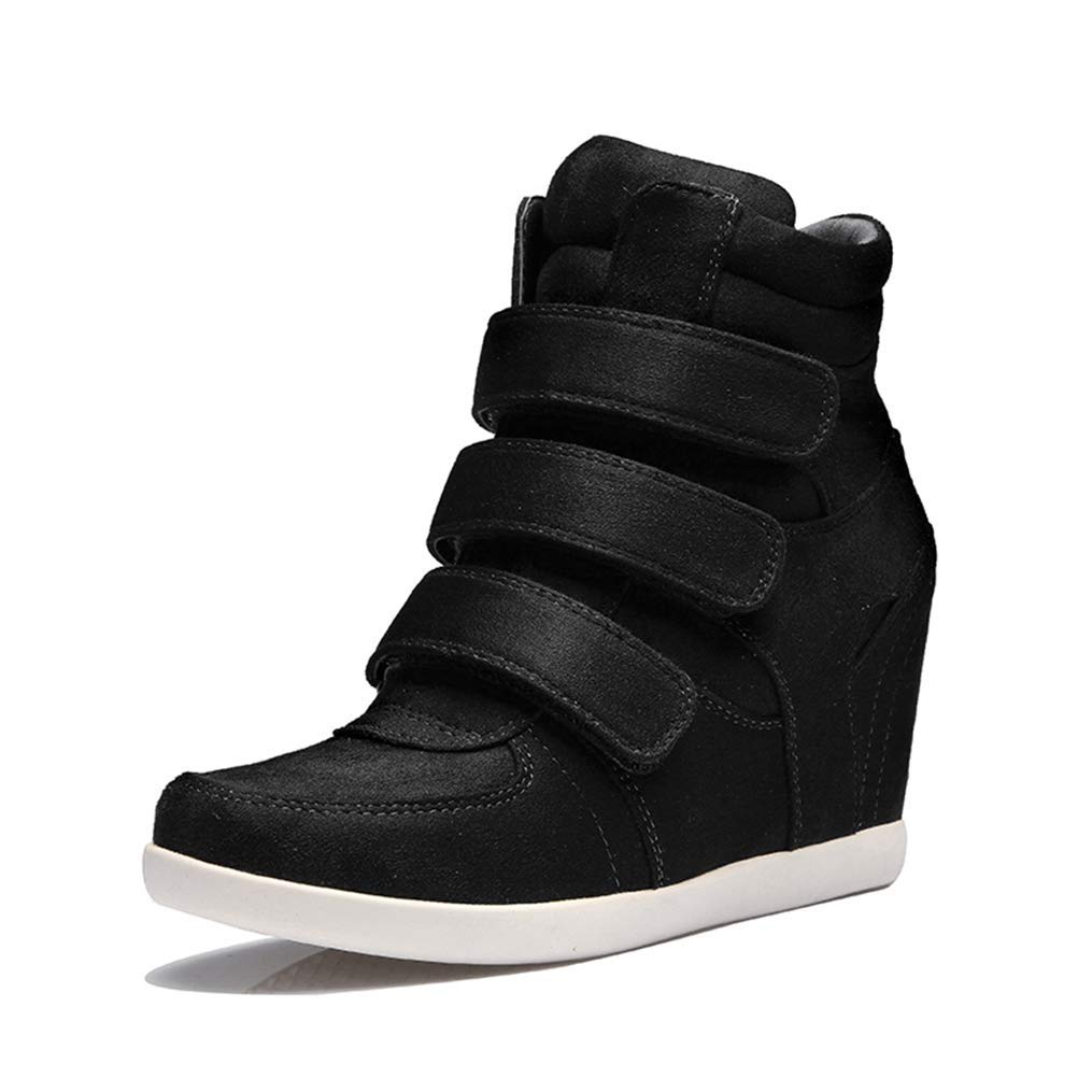 Bopoli Womens Spring Wedges Sneakers Fashion High-top Platform Shoes High Heels Casual Shoes for Girl