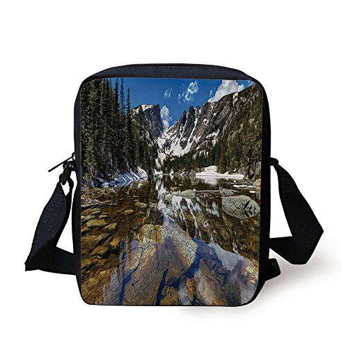 IPrint Lake House Decor,Dream Mirroring Lake at the Mountain Park in West America River Snow Away Photo,Green Brown Blue Print Kids Crossbody Messenger Bag Purse