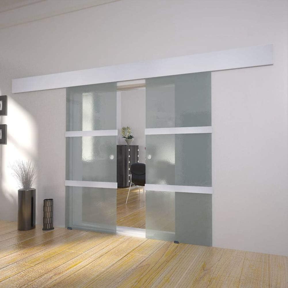 Puerta corredera de cristal y aluminio, puerta corredera de cristal con riel silencioso para entrada de entrada, color plateado