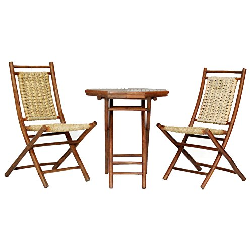 Heather Ann Creations The Kauai Collection Contemporary Style Bamboo Wooden 3-Piece Table and Chairs Outdoor Patio Bistro Dining Set, - Antique Bamboo Table