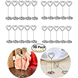 80pcs Heart Shape Wedding Party Name Table Number Place Card Holder Favor Clips
