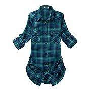OCHENTA Women's Mid Long Style Roll up Sleeve Plaid Shirt C113 Label 3XL - US 8-10