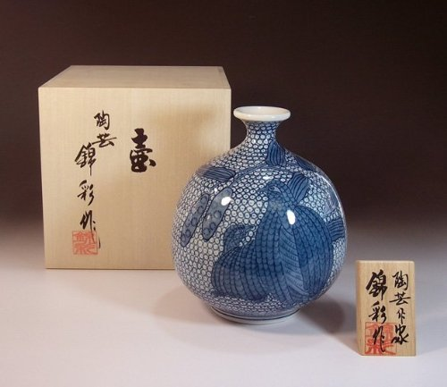 Arita - Imari pottery vase | luxury gifts | Gifts | souvenir | gift | Some-zukeuzura - potter Fujii NishikiAya