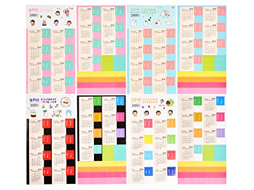 8 Set 2018 Monthly Planner Calendar Stickers Self Adhesive Tabs for Diary, Planners, Agenda, Notebooks, and Bullet Journal Stickers - Monthly Tab Set