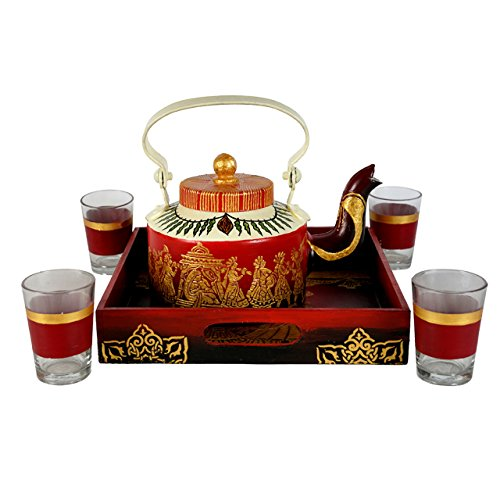 Hand Painted Teapot With Complimentary Tray & 4 Glasses Best Serveware To Serve Tea/Coffee Light Weight & Durable Red & Gold Unique Vintage Home Decor By Klamod India
