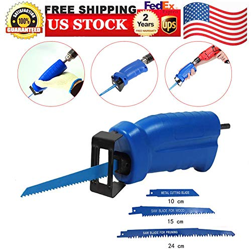 Reciprocating Saws, Reciprocating Saws Portable Adapter Electric Drill Attachment Power Tool Accessories Convert Adapter Wood Metal Cutter for Cutting Machine Saw Blades, USA STOCK