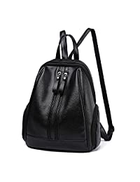 Hynbase Retro Fashion Women's Leather Backpack Casual Travel Shoulder Bag