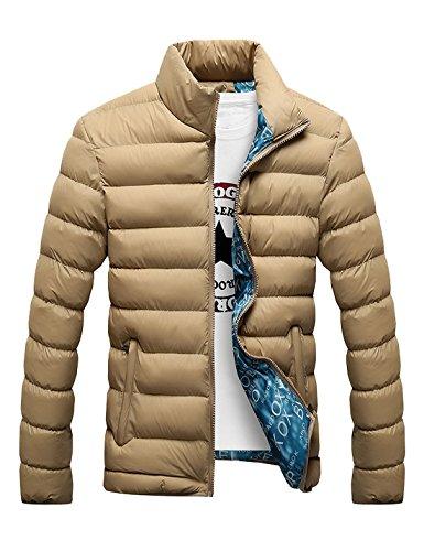 (Tanming Men's Basic Pure Color Stand Collar Warm Down Coat (X-Large, Khaki))