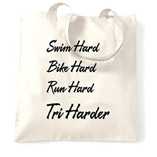 Size Hard Run Harder Swim Triathlon Bag and Natural Tri White Tote One Bike PwWX1RYqax