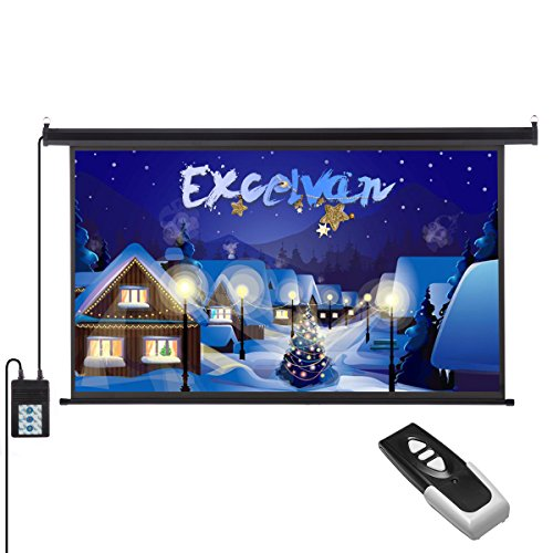 Excelvan 100 Inch 16:9 1.2 Gain Wall Ceiling Electric Motorized HD Projector Screen with Remote Control for Home and Office by Excelvan