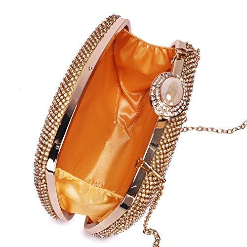 63e59d19c Bolso A Glitter Bolsos Fang Mano Hombro Diamond fiesta Para De Hechos Boda  Lujo 1 Encogimiento baile Noche Cadena Embrague Peng Mujer Dorado 57wxv0dx