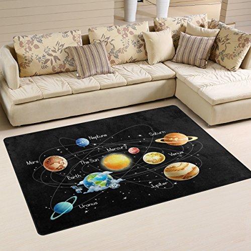 WOZO Universe Galaxy Solar System Area Rug Rugs Non-Slip Floor Mat Doormats Living Room Bedroom 31 x 20 inches