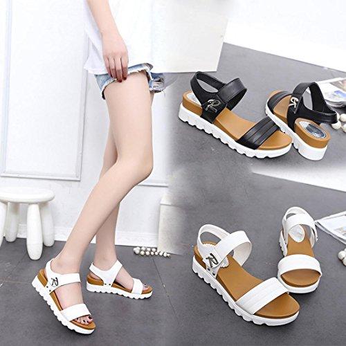 Sandales Rawdah Fond Plates de Chaussures Mode d'Été Mode Printemps Été Confortables Et Femmes Âgées Sandales Épais Sandales Noir Dames à trtwxOf8q