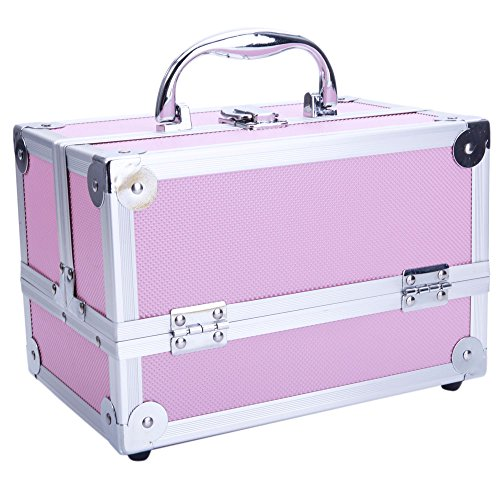 Portable Aluminium Makeup Train Case with Mirror & Extendable Trays, Professional Lockable Cosmetic Organizer Artist Travel Storage Box for Beauty Tool Jewelry (Pink) by Crazyworld