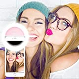 Selfie Ring Light, Selfie Light Ring Brightness Rechargeable Selfie Lighting Ring for iPhone Samsung Galaxy (Pink)