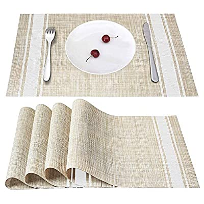 Smeala Placemats Set of 4, Heat Insulation & Stain Resistant Washable Place Mats, 17.7 x 11.8 inches Durable Non-Slip Kitchen Table Mats Placemat for Dining Table (white) - ✔ SAFETY CERTIFICATION---70% PVC+30% polyester, FDA approved and environmentally PVC materials used, they are especially the best decoration and protection to your tables. ✔ PRODUCT FEATURE---Non-slip, Heat insulation, Stain Resistant, Washable placemat, non-fading, not mildew, Stylish cross weave Pattern With high quality. ✔ STYLISH HOME DECOR---Wherever you stayed in home, dining hall, kitchen, hotel or business office, it is perfect for daily use and good match with all tables. - placemats, kitchen-dining-room-table-linens, kitchen-dining-room - 51socw8QoYL. SS400  -