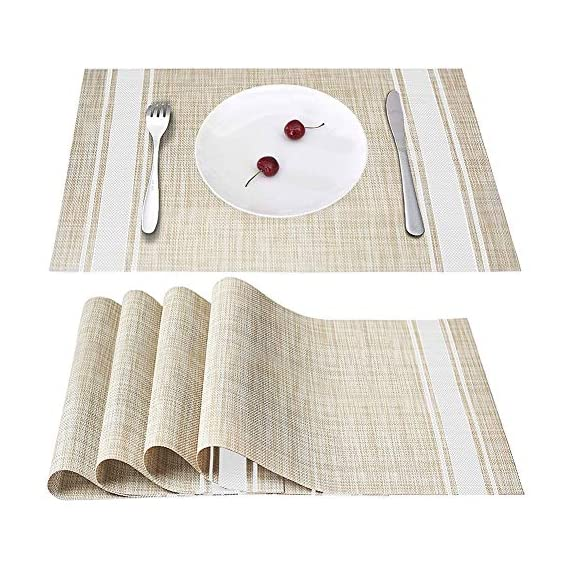 Placemats Set of 4, Smeala Heat Insulation Washable Place Mats, 17.7 x 11.8 inches Durable Non-Slip Kitchen Table Mats… - ✔ SAFETY CERTIFICATION---70% PVC+30% polyester, FDA approved and environmentally PVC materials used, they are especially the best decoration and protection to your tables. ✔ PRODUCT FEATURE---Non-slip, Heat insulation, Stain Resistant, Washable placemat, non-fading, stylish cross weave pattern with high quality. ✔ STYLISH HOME DECOR---Wherever you stayed in home, dining hall, kitchen, hotel or business office, it is perfect for daily use and good match with all tables. - placemats, kitchen-dining-room-table-linens, kitchen-dining-room - 51socw8QoYL. SS570  -