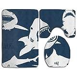 Shark Microfiber Bathroom Contour Rugs Combo,Set of 3 Soft Shaggy Non Slip Bath Shower Mat Rectangle-Shaped U-Shaped and O-Shaped Toilet Floor Rug
