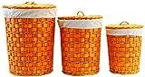 Arte Regal Import 11730–Round Laundry Basket, Set of 3, Orange