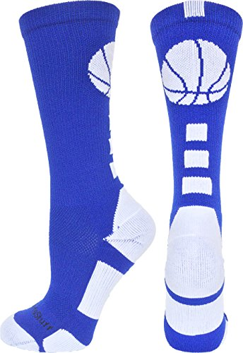 MadSportsStuff Basketball Logo Athletic Crew Socks, Small - Royal/White - Athletic Logo Socks White