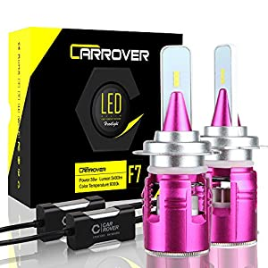 H7 LED Headlight Bulb, CAR ROVER 72W 10800Lumens Extremely Bright CSP Y19 Chip LED Conversion Kit, Xenon White 6000K, 3 Year Warranty
