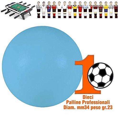 Renzline by Longoni Calcio Balilla set di 10 palline professionali azzurre per gioco veloce, O mm.34, peso gr. 23. Rotondita e peso controllati.