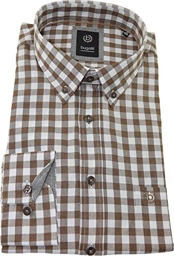 bugatti Hemd regularfit braun-weißes Karohemd langarm Button-Down Kragen mit Tasche Size XL