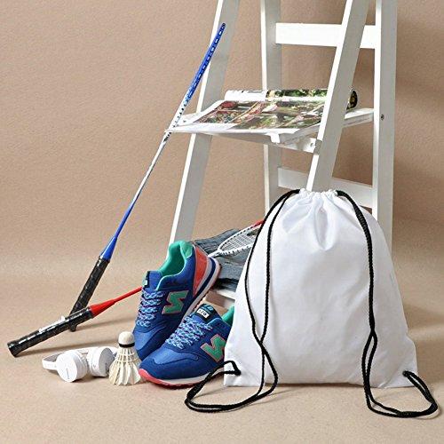 BINGONE Kordelzug Rucksack Nylon Folding Bag für PE-Schule Home Reisen Sport Aufbewahrung Weiß 10pcs YHIlLHU1