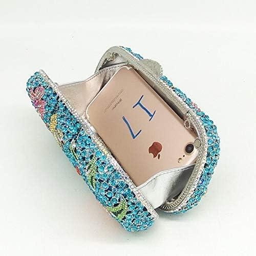 XLJJB Borsa da Sera Floreale in Cristallo con Strass da Donna con Strass Blu Diamante 14