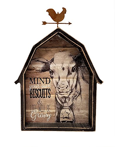 Farmhouse Decor Barn Shaped Wooden Box Sign w/ Cow and Rooster Weather Vane (Mind Your Own Biscuits & Life Will Be Gravy)