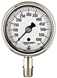 """Ashcroft Duralife Type 1009SW Stainless Steel Case Dry Filled Pressure Gauge, Stainless Steel Tube and Socket, 2-1/2"""" Dial Size, 1/4"""" NPT Lower Connection, 0/600 psi Pressure Range"""