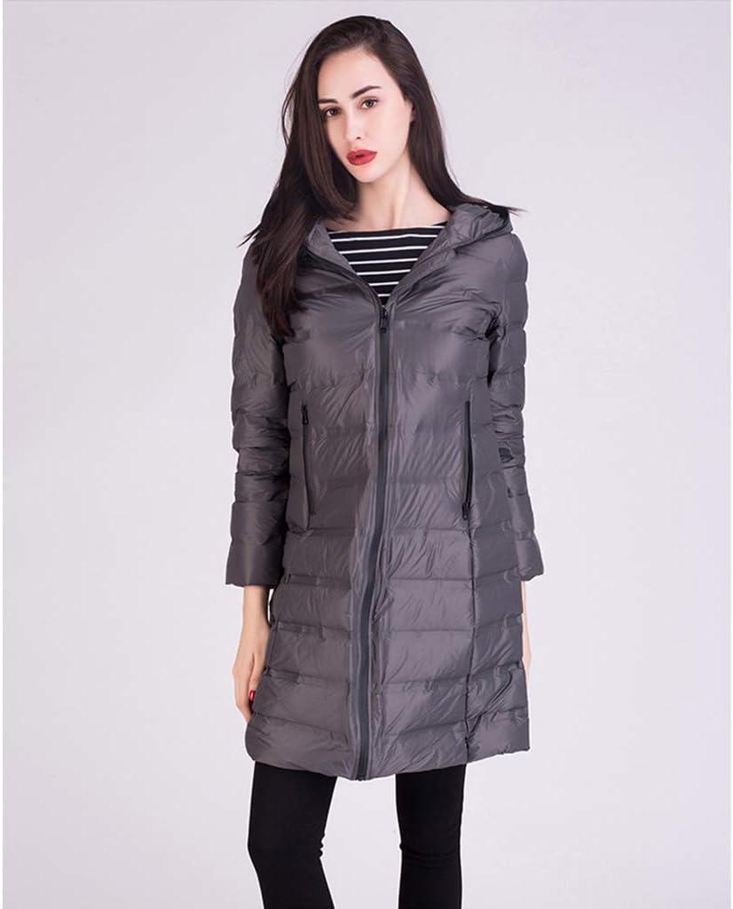 FAPROL-Down Jackets Long Doudounes pour Femmes, Manteaux Chauds d'hiver avec Capuche, Parka Légère Extérieure Vêtements sans Couture Gray