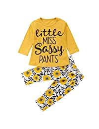 MIOIM 2pcs Baby Girl Outfits T-Shirt Pants Set Toddler Autumn Clothes Tracksuit