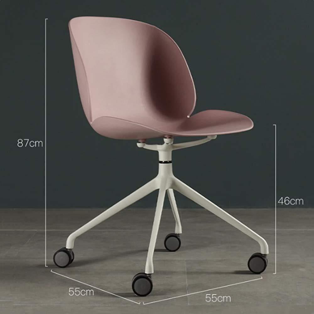 Kontorsstol svängbar stol kontor fåtölj modernt hem spel enkel ergonomisk kontorsstol liten stol lyft, rosa Rosa