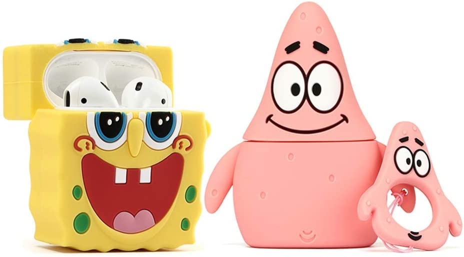 ZAHIUS Airpods Silicone Case Cool Cover Compatible for Apple Airpods 1&2 [Cartoon Series][Designed for Kids Girl and Boys](2Pack PK Star&Sponge Bob)