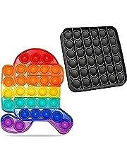 Pop It 2-pack stressverminderend speelgoed, zeer origineel, zwart en regenboogkleuren, voor kinderen grappig en ontspannend