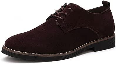 Leisure - Zapatos de cordones para hombre, de piel, cómodos, Oxford, de ante negro, azul y marrón, talla 38-48