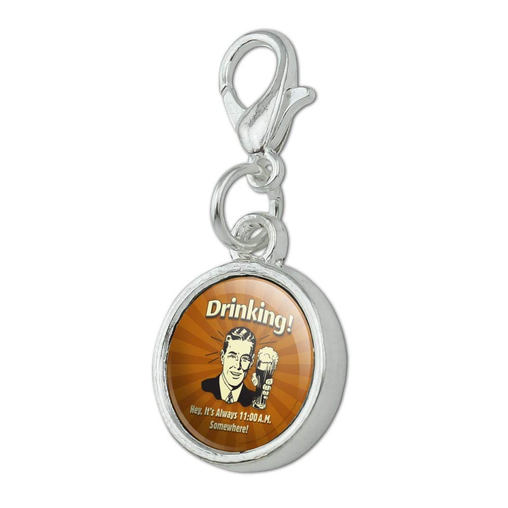 GRAPHICS /& MORE Drinking Its Always 11am Somewhere Funny Humor Antiqued Bracelet Pendant Zipper Pull Charm with Lobster Clasp
