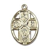14kt Gold 5-Way Holy Spirit Medal Pendant, 3/4 Inch