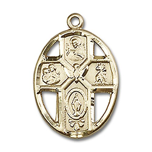 14kt Gold 5-Way Holy Spirit Medal Pendant, 3/4 Inch by Unknown