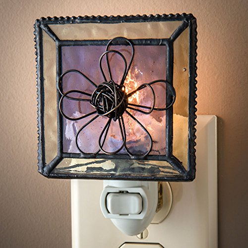 j devlin ntl 130 purple stained glass night light with wire flower - Decorative Night Lights