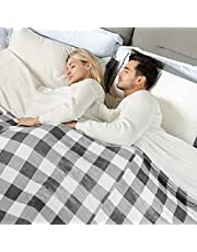 WOOMER Electric Heated Throw Blanket, Dual Controllers, 10 Heat Levels & 0.5-12H Auto Off, Fast Heating, Over-Heat Protect, Machine Washable, 100% Soft Velvet, ETL Verified