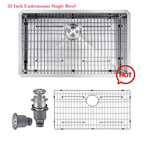 PRIMART PRO 32 X 19 Inch 16 Gauge Handmade Stainless Steel Undermount Kitchen Sink Single Bowl Fits 36