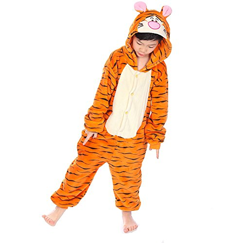 Coolpay Cute Unisex Animal Pattern Children Pajamas Cosplay Bath-Towel Costume Sleepwear for Kid Perfect as Halloween or Christmas Gifts to Baby and Children (140#, Tiger)]()