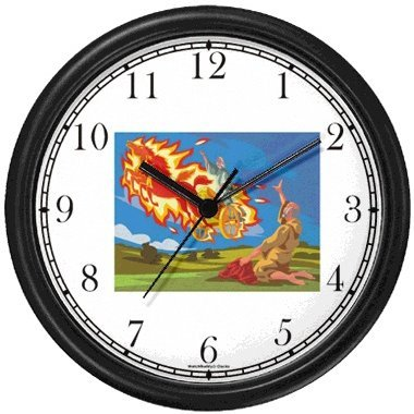 A chariot of fire and horses of fire takes Elijah up into heaven in a whirlwind while Elisha watches - Biblical or Bible Religious Themes Wall Clock by WatchBuddy Timepieces (Black Frame)