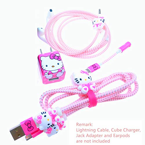 Tospania DIY Wire Protectors Compatible for iPhone5 5S SE 6 6S 7 8 Plus X IPad iPod iWatch Charging Cable and USB Charger -Pink Hello Kitty (Hello Kitty Iphone Charger)
