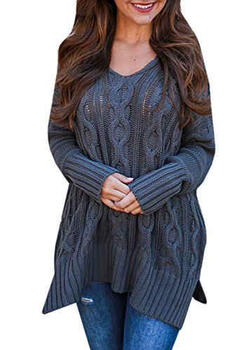 Karlywindow Womens Lightweight Cable Knitted Sweaters Long Sleeve Loose Tunic Pullover -