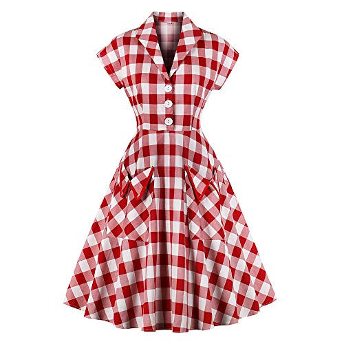 Women's 1950s Vintage Cap Sleeve V Neck Plaid Swing Dress with Pockets (3XL, Red) (50 Plus Size Dress Rockabilly)