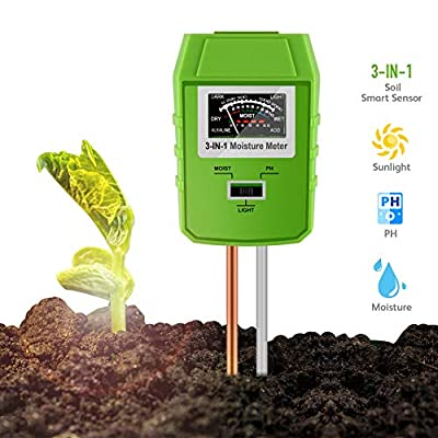 Awinro Soil pH Meter, Upgraded Smart 3-in-1 Soil Light/pH/Moisture Sensor Tester, Gardening Tools Farm, Lawn, Garden Soil Test Kit, Plant Health Care Experts (More Accurate, No Battery Need)